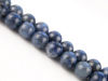 Picture of 10x10 mm, round, gemstone beads, Dumortierite, natural, A-grade