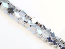 Picture of 4x4 mm, Greek cross, gemstone beads, hematite, rhodium metalized