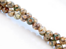Picture of 6x6 mm, round, gemstone beads, agate, Tibetan style, green white with wheat and khaki brown