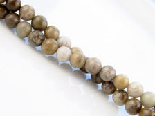 Picture of 6x6 mm, round, gemstone beads, new silver leaf jasper, beige, natural