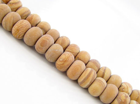 Picture of 6x4 mm, rondelle, gemstone beads, petrified wood, yellow, natural, frosted