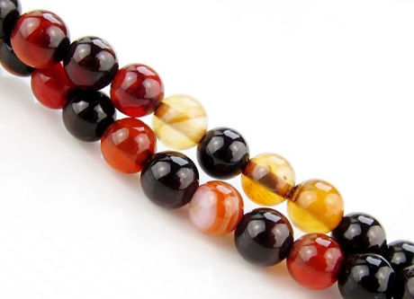 Picture of 6x6 mm, round, gemstone beads, natural agate, black and red brown