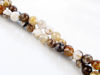 Picture of 6x6 mm, round, gemstone beads, new petrified wood, beige-brown, natural