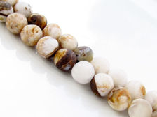Picture of 8x8 mm, round, gemstone beads, new petrified wood, beige-brown, natural, frosted