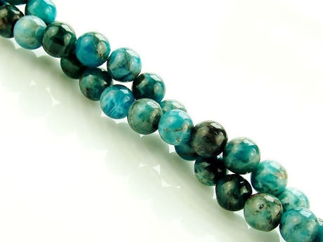 Picture of 6x6 mm, round, gemstone beads, light green-blue apatite, natural
