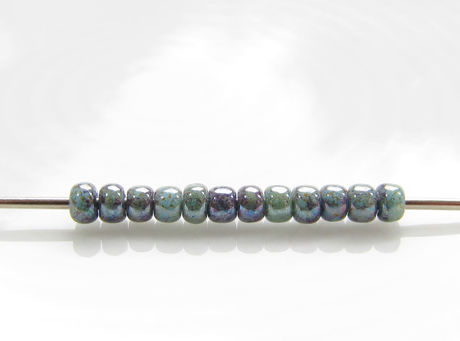 Picture of Japanese seed beads, Toho, size 11/0, opaque turquoise, transparent blue marbled