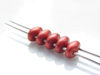 Picture of 5x2.5 mm, SuperDuo beads, Czech glass, 2 holes, metallic, lava red, matte