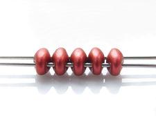 Image de 5x2.5 mm, perles SuperDuo, de verre tchèque, 2 trous, rouge de lave, mat