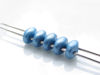 Picture of 5x2.5 mm, SuperDuo beads, Czech glass, 2 holes, opaque, powdery, ocean blue
