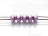 Picture of 5x2.5 mm, SuperDuo beads, Czech glass, 2 holes, opaque, satin metallic, magenta or red purple