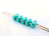 Picture of 5x2.5 mm, SuperDuo beads, Czech glass, 2 holes, opaque, turquoise green luster