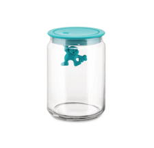 Picture of Alessi, Gianni, a little man holding on tight, kitchen container, medium, light blue turquoise, Mattia Di Rosa, 1994