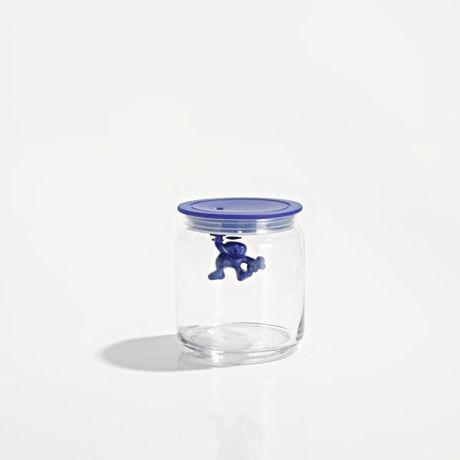 Image de Alessi, Gianni, a little man holding on tight, boîte de rangement de cuisine, medium, bleu profond, Mattia Di Rosa, 1994