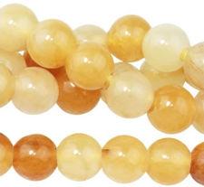 Picture of 8x8 mm, round, gemstone beads, yellow jade, honey yellow, natural