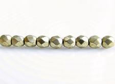 Image de 2x2 mm, perles à facettes tchèques rondes, rêve de nuage ou gris or, opaque, or suédé