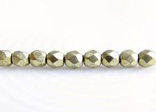 Image de 3x3 mm, perles à facettes tchèques rondes, rêve de nuage ou gris or, opaque, or suédé