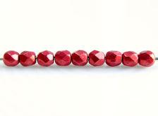 Afbeelding van 3x3 mm, Tsjechische ronde facetkralen, samba rood, ondoorzichtig, suede goud