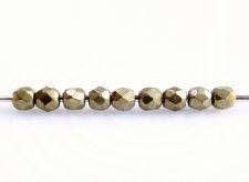 Image de 2x2 mm, perles à facettes tchèques rondes, brun Emperador clair ou brun miel clair, opaque, métallique saturé