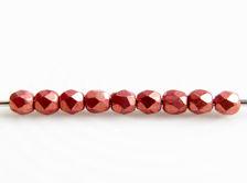 Image de 2x2 mm, perles à facettes tchèques rondes, lantana ou rouge clair moyen, opaque, or suédé
