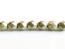 Image de 6x6 mm, perles à facettes tchèques rondes, rêve de nuage ou gris or, opaque, or suédé