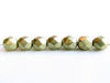 Picture of 6x6 mm, Czech faceted round beads, cloud dream or gold grey, opaque, sueded gold