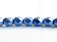 Picture of 6x6 mm, Czech faceted round beads, Provence blue, opaque, sueded gold