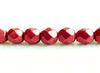 Afbeelding van 6x6 mm, Tsjechische ronde facetkralen, samba rood, ondoorzichtig, suede goud