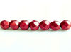 Picture of 6x6 mm, Czech faceted round beads, samba red, opaque, sueded gold