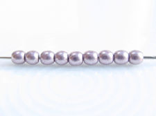 Picture of 2x2 mm, round, Czech druk beads, blackened pearl or silvery purple, opaque, sueded gold