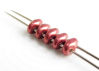 Picture of 5x2.5 mm, SuperDuo beads, Czech glass, 2 holes, saturated metallic, valiant poppy red