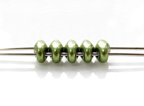 Picture of 5x2.5 mm, SuperDuo beads, Czech glass, 2 holes, opaque, sueded gold, fern green