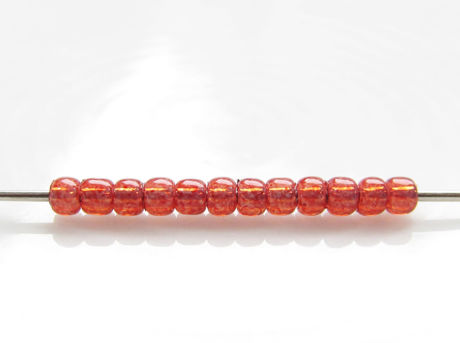 Picture of Japanese seed beads, Toho, size 11/0, milky pomegranate orange red, PermaFinish, silver-lined