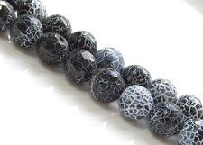 Afbeelding van 10x10 mm, rond, edelsteen kralen, zwart craquelé agaat, in facetten
