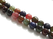 Afbeelding van 10x10 mm, rond, edelsteen kralen, craquelé agaat, veelkleurig, verzadigde tinten, in facetten