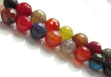 Afbeelding van 10x10 mm, rond, edelsteen kralen, craquelé agaat, veelkleurig, felle tinten, in facetten