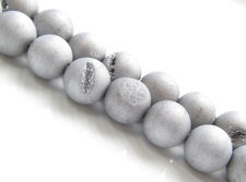 Picture of 10x10 mm, round, gemstone beads, druzy agate, silver grey, frosted