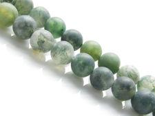 Afbeelding van 6x6 mm, rond, edelsteen kralen, mosagaat, groen, natuurlijk, mat