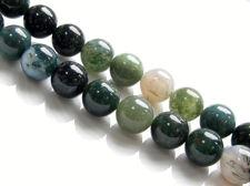 Afbeelding van 10x10 mm, rond, edelsteen kralen, mosagaat, groen, natuurlijk