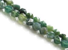 Afbeelding van 5x6 mm, rond in Engelse snede, edelsteen kralen, mosagaat, groen, natuurlijk, in facetten