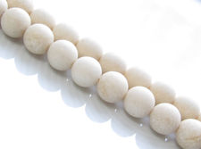 Picture of 8x8 mm, round, gemstone beads, river stone, antique white, natural, frosted
